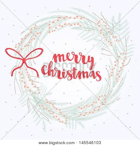 Vector Cute Merry Christmas Card With Frozen Wreaths. Winter Frame Of Fir, Berries, Flowers And Bran