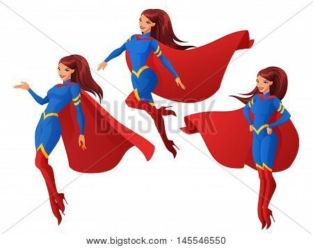 Set of women in blue and red superhero outfit in three different poses. Cartoon vector illustration isolated on white background.