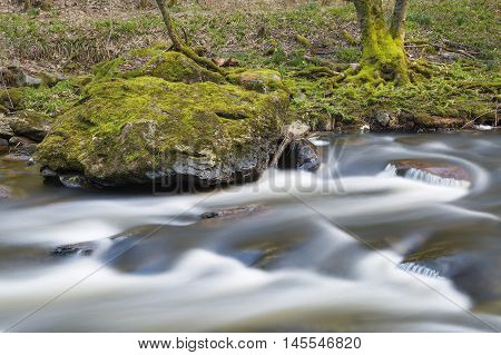 Long exposure shot of the Rur in the Eifel forest near Monschau Germany. poster