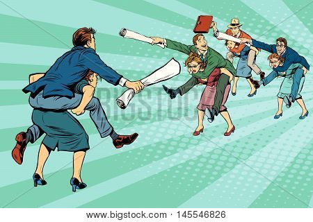 Business battle gender inequality pop art retro comic drawing illustration