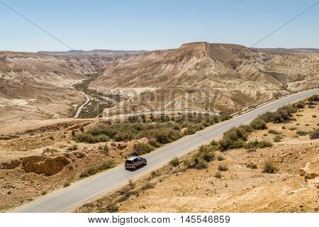 The Ramon Crater road in Makhtesh Ramon nature reserve in Negev desert Israel