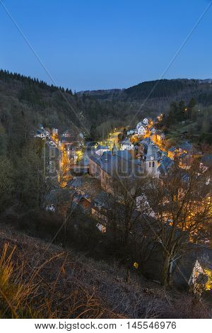 Monschau And Rur At Night, Germany