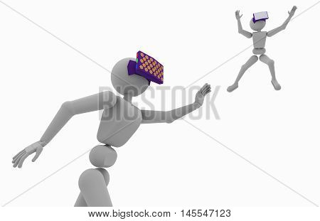 abstract white man uses virtual glasses object close up 3d illustration isolated on white background