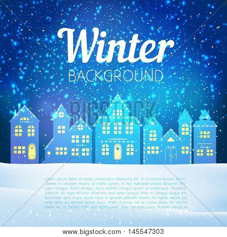 Vector Christmas Winter Evening Landscape With Houses And Lights Snow