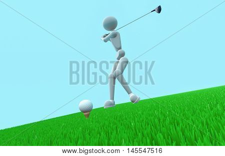 puppet white men plays golf on a green grass he swung with the club preparing to hit the ball render 3D illustration copy space