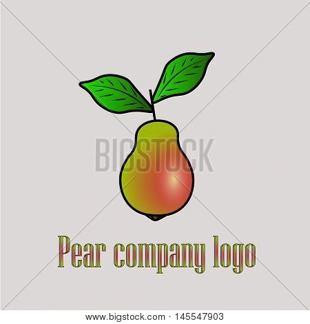 Pear logo company beautiful mature pears with red sidled like a company logo or illustration for design