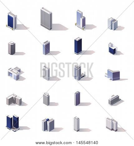 Isometric low poly skyscrapers, offices and stores buildings set