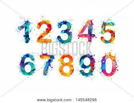 Collection of digits. Numbers figures. Vector paint splash.