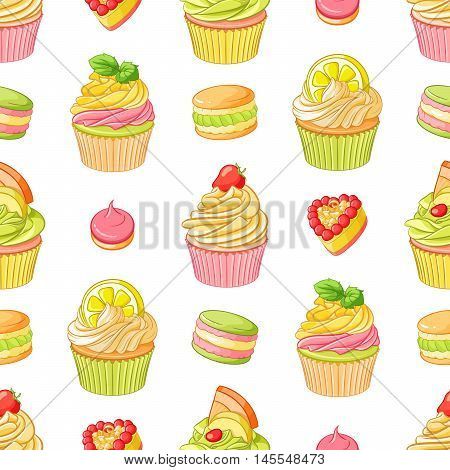 Various cute bright colorful fruit desserts cupcakes, meringues, tarts and macaroons. Seamless vector pattern on white background.