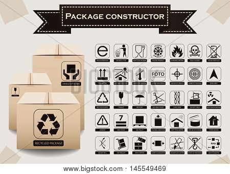 Vector Package Constructor. Packaging Symbols.  Icon Set Including Waste Recycling, Fragile, Flammab