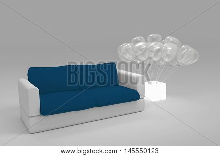 Close Up Black And White Polygonal Modern Style Sofa With Translucent Balloon Planted At A White Lig