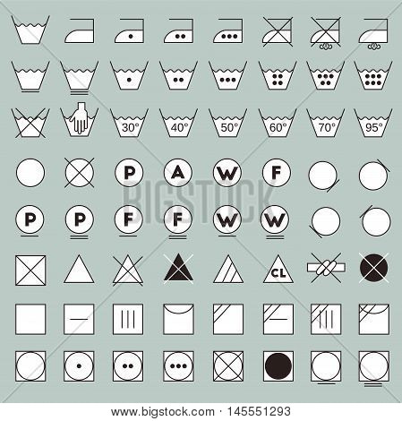 Laundry symbols line design. Washing ironing bleaching drying dry clean and tumble dry icons.