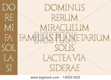 Music. The sacred meaning of musical notes. DO RE MI FA SOL LA SI DO. Roman Classic Alphabet with a Method of Geometrical Construction for Large Letters.