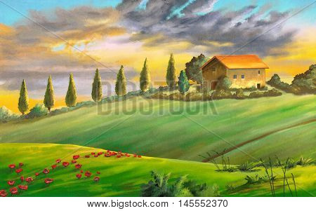 Rural landscape at sunset. Digital painting.