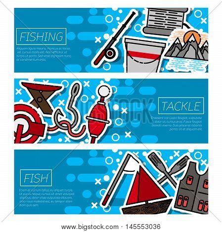 Fishing horizontal banners set with fisherman items symbols flat isolated illustration