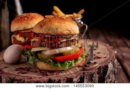 Homemade Hamburger With Lettuce And Cheese.