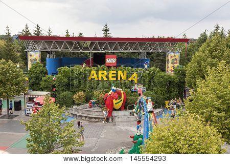 GUNZBURG GERMANY - AUG 18 2016: View of the Arena at the Legoland Deutschland theme park in Gunzburg Germany