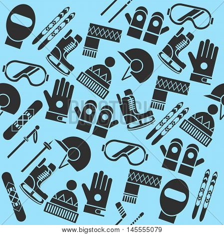 Hand drawn winter sports equipment silhouettes pattern. Vector illustration, EPS 10