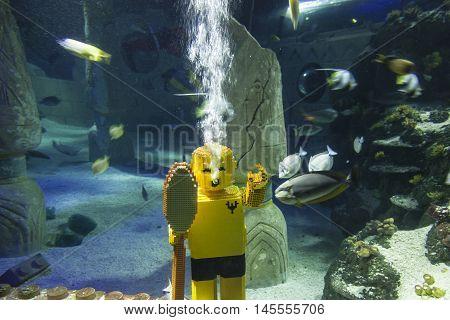 GUNZBURG GERMANY - AUG 18 2016: Lego diver character at the Legoland Atlantis in Legoland Deutschland
