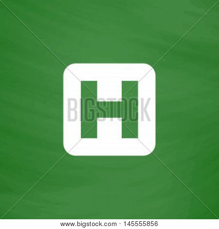 Helipad Simple vector button. Imitation draw icon with white chalk on blackboard. Flat Pictogram and School board background. Illustration symbol