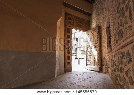 Old town passageway street Toledo city Spain