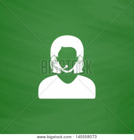 telephonist Simple vector button. Imitation draw icon with white chalk on blackboard. Flat Pictogram