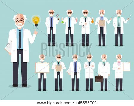 Group of senior male professors old scientists. Flat design people characters.