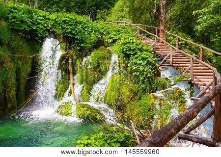 Wooden footpath in the Plitvice lakes. National park. Croatia