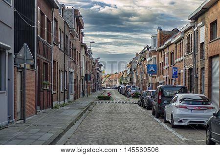 Street in a quiet area of Antwerpen. BELGIUM 03, SEPTEMBR 2016