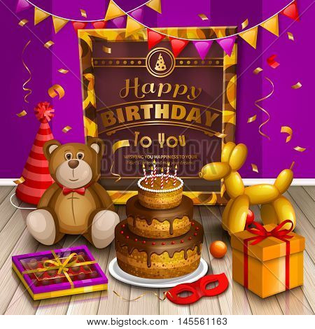 Happy birthday greeting card. Lots of presents and toys. Party hats, teddy bear, cake, dog balloon, box of chocolates, confetti, playing ball and pattern gold frame for your text on wooden floor.