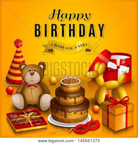 Happy birthday greeting card. Pile of colorful wrapped gift boxes. Lots of presents and toys. Party hats, teddy bear, cake, dog balloon, box of chocolates, ribbon, playing balls on yellow background.
