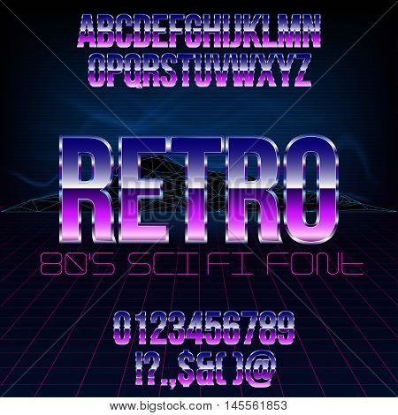 Retro futurism 80's sci-fi style metallic chrome violet colored bright style action movie vector font set.