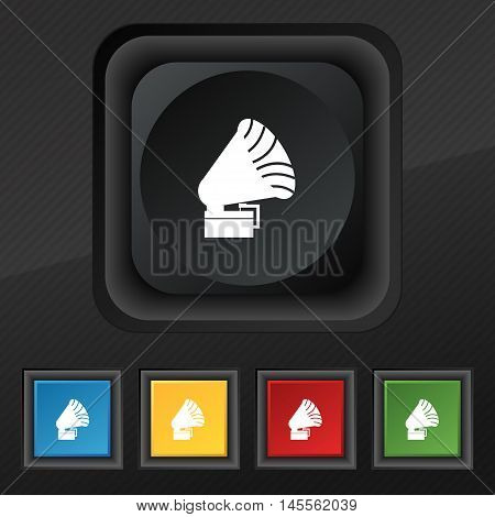 Gramophone Icon. Symbol. Set Of Five Colorful, Stylish Buttons On Black Texture For Your Design. Vec