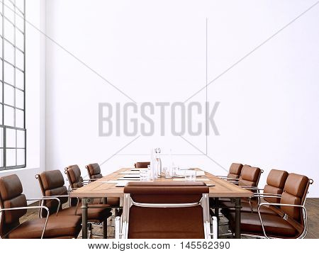 Photo interior modern meeting room with panoramic windows.Blank White Canvas on Wall and Generic Design Armchair in contemporary conference room.Horizontal mockup. 3D rendering