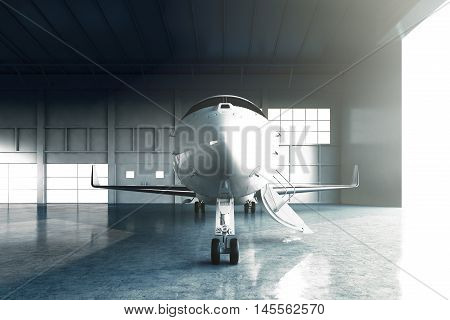 Photo of White Glossy Luxury Generic Design Private Jet parking in hangar airport. Concrete floor. Business Travel Picture. Horizontal, front view. Film Effect. 3D rendering