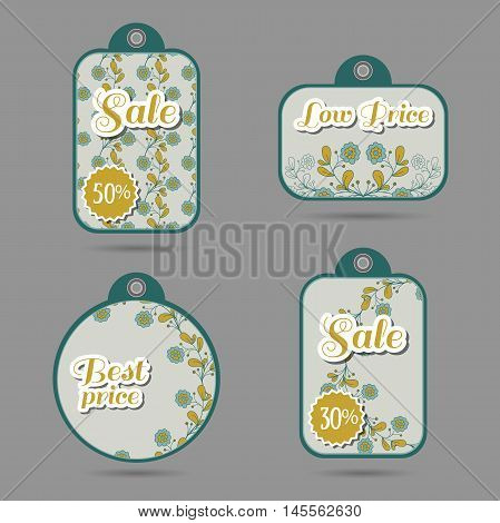 Set of price tags with hand drawn blue flowers. Vector illustration.