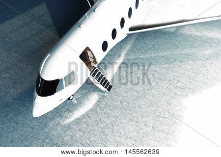 Photo of White Glossy Luxury Generic Design Private Jet parking in hangar airport. Concrete floor. Business Travel Picture. Horizontal, top angle view pilot cabine. Film Effect. 3D rendering