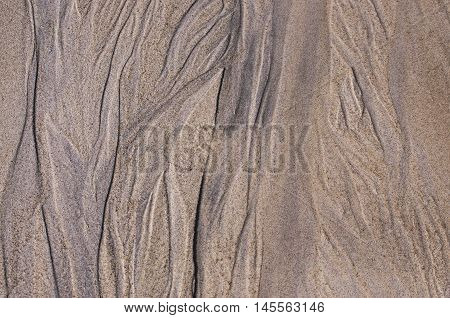 Sand pattern at the beach during the ebb