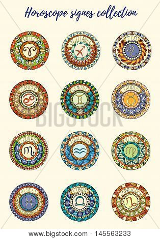Zodiac signs theme. Set of mandalas with libra zodiac signs. Zentangle inspired mandalas. Hand drawn tribal mandala horoscope symbols for tattoo art, printed media design, stickers, etc.