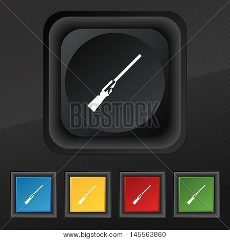 Shotgun Icon Symbol. Set Of Five Colorful, Stylish Buttons On Black Texture For Your Design. Vector
