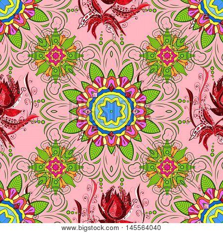 Vector boho chic flower seamless pattern. Elegant floral background. Mandala design element. Unusual flourish ornament. Pink lilac purple