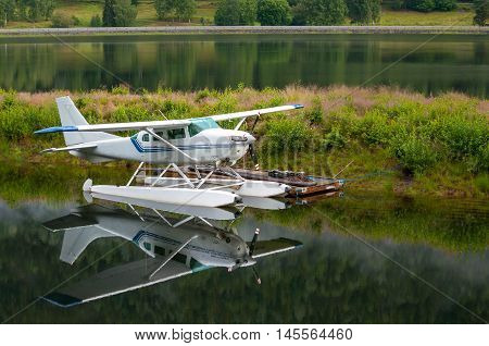 Hydroplane near the ramp on the lake in Norway