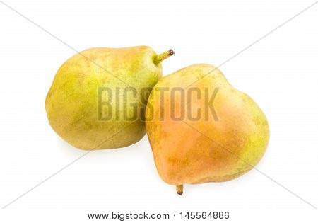Two blushful ripe pears with spotty pear skin isolated over white.