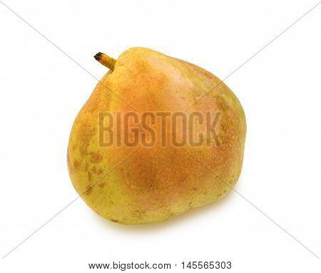 Ripe blushful pear isolated over white background.