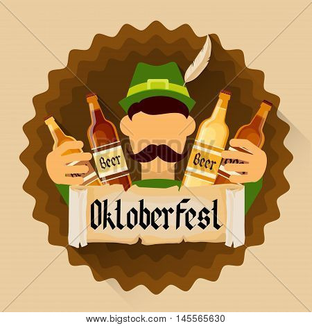 Green Patric Hold Beer Bottles Oktoberfest Festival Holiday Decoration Banner Flat Vector Illustration