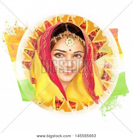 Illustration of beautiful Indian young woman in colorful sari for your design. Traditional fashion. Image in the national tricolor for Indian Independence Day celebration.