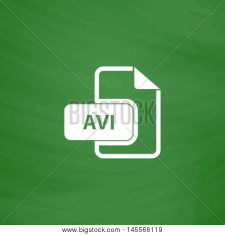 AVI Simple vector button. Imitation draw icon with white chalk on blackboard. Flat Pictogram and School board background. Illustration symbol