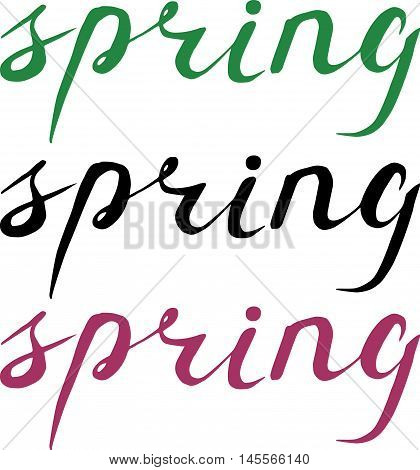 Spring Hand Drawn Lettering. Isolated On White Background. Handdrawn Letters For Your Design.