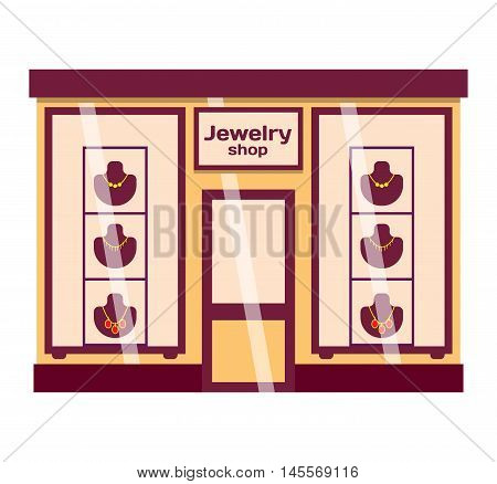 Vector flat design shop facade isolated. Some shop facade isolated on white background. Jewelry shop store facade