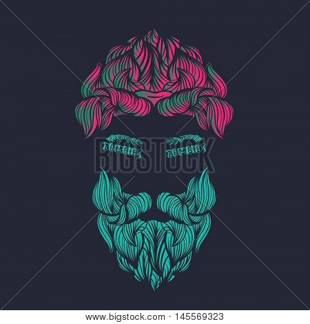 Zombie sign in the eyes. Creative Illustration of bearded zombie skull. Halloween theme. Zombie party. Vector.